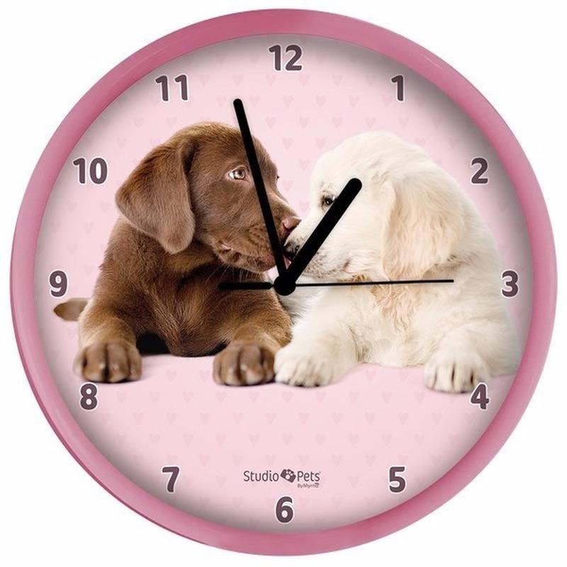 Roze hondenklok Labrador puppies