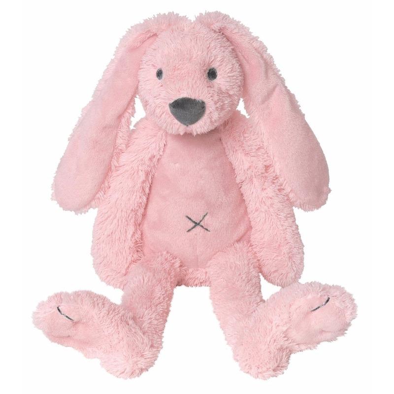 Roze knuffel konijn roze 28 cm