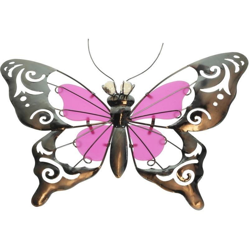 Roze metalen tuindecoratie vlinder 35 cm glow in the dark