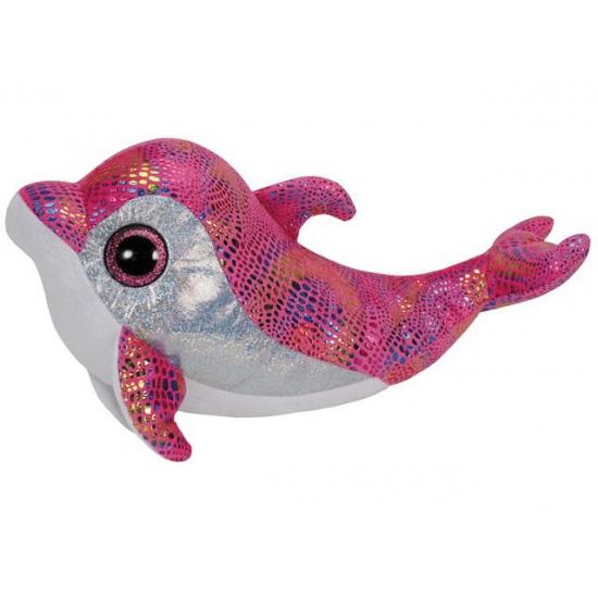 Roze Ty beanie knuffel dolfijnen 24 cm