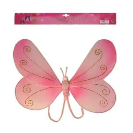 Roze verkleed vleugels vlinder voor kids