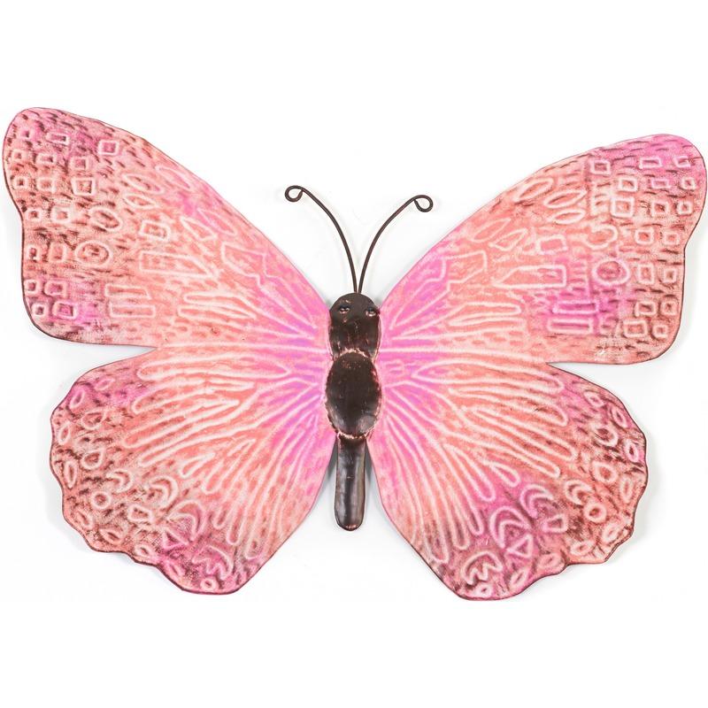 Roze-zwarte metalen tuindecoratie vlinder 39 cm