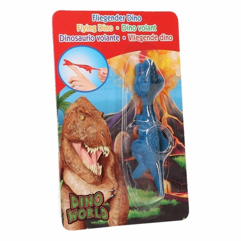 Rubberen blauwe speelgoed Dino World vingerpoppetje T-rex