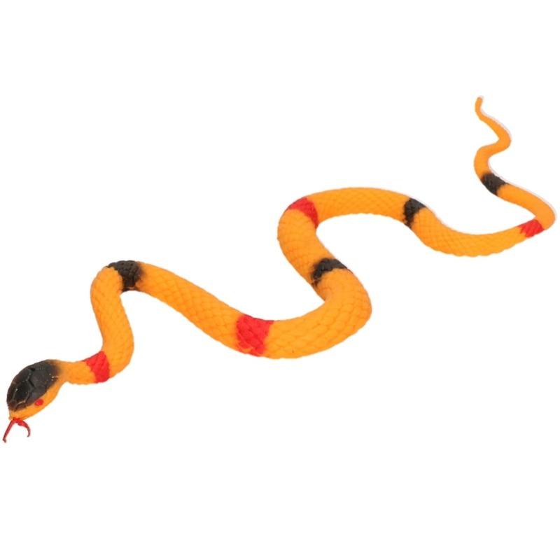 Rubberen dieren slang oranje 55 cm
