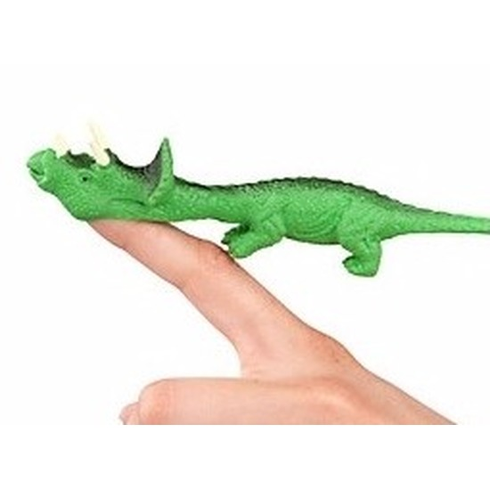 Rubberen groene speelgoed Dino World vingerpoppetje Triceratops