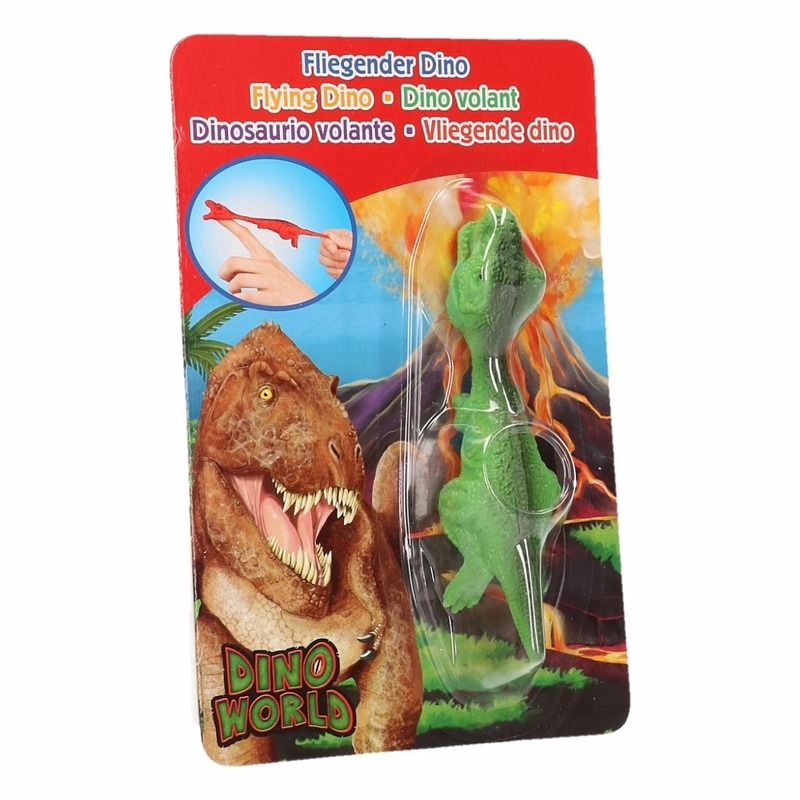 Rubberen speelgoed groene Dino World vingerpoppetje T-rex