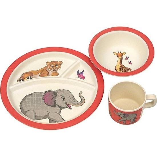 Safari dieren bamboe serviesset 3-delig bord/diep bord/beker voor kinderen