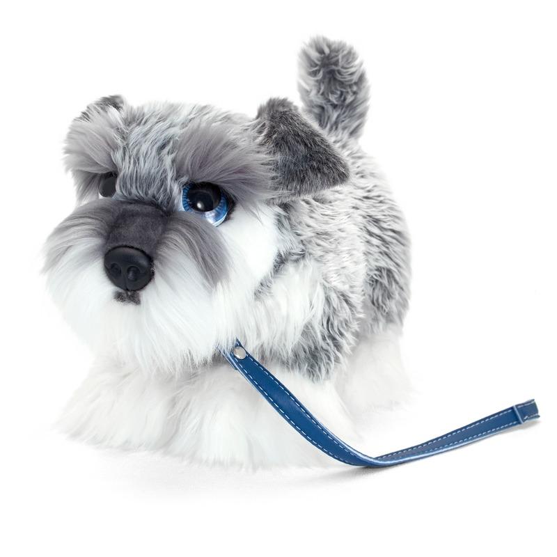 Schnauzer honden knuffeldier grijs/wit 30 cm