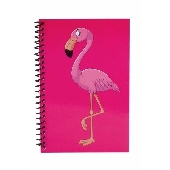 Schriftjes/Opschrijfboekjes flamingo thema roze 18cm