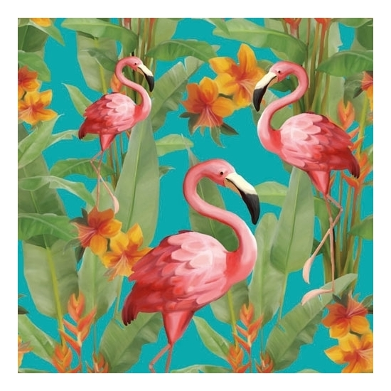 Servetten Flamingo print print 3-laags 20x stuks