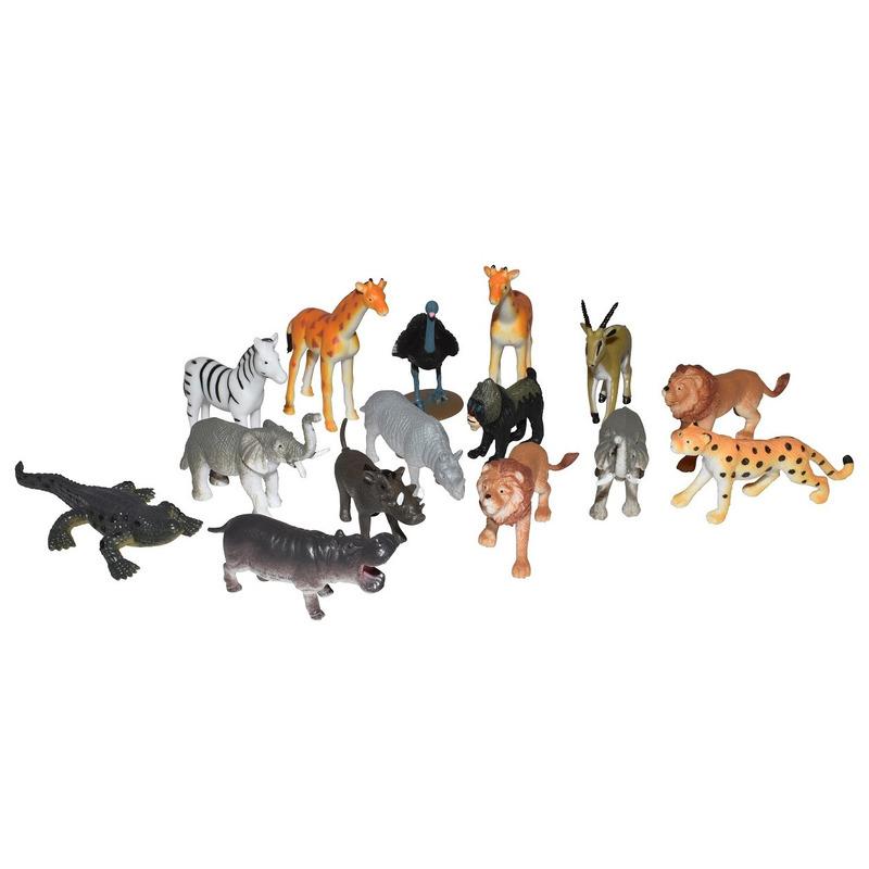 Set met mini Afrikaanse dieren speelgoed figuren 15-delig