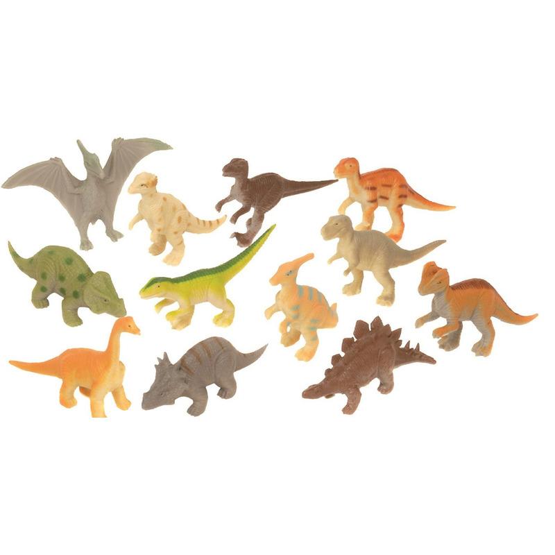 Set met mini dinosaurus speelgoed figuurtjes 12-delig