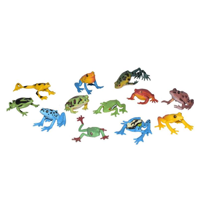 Set met mini kikkers dieren speelgoed figuren 12-delig