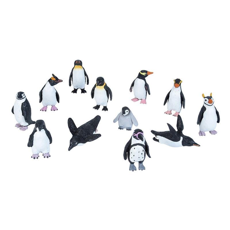 Set met mini pinguins dieren speelgoed figuren 12-delig