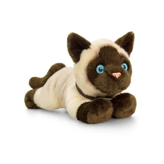Siamese liggende katten/poezen knuffel 30cm