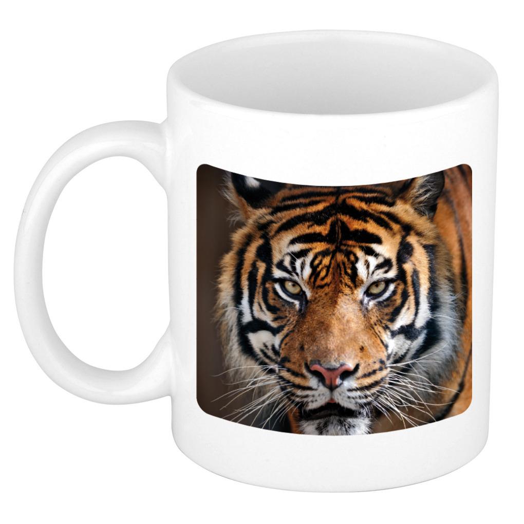 Siberische tijger koffiemok / theebeker wit 300 ml voor de dieren liefhebber