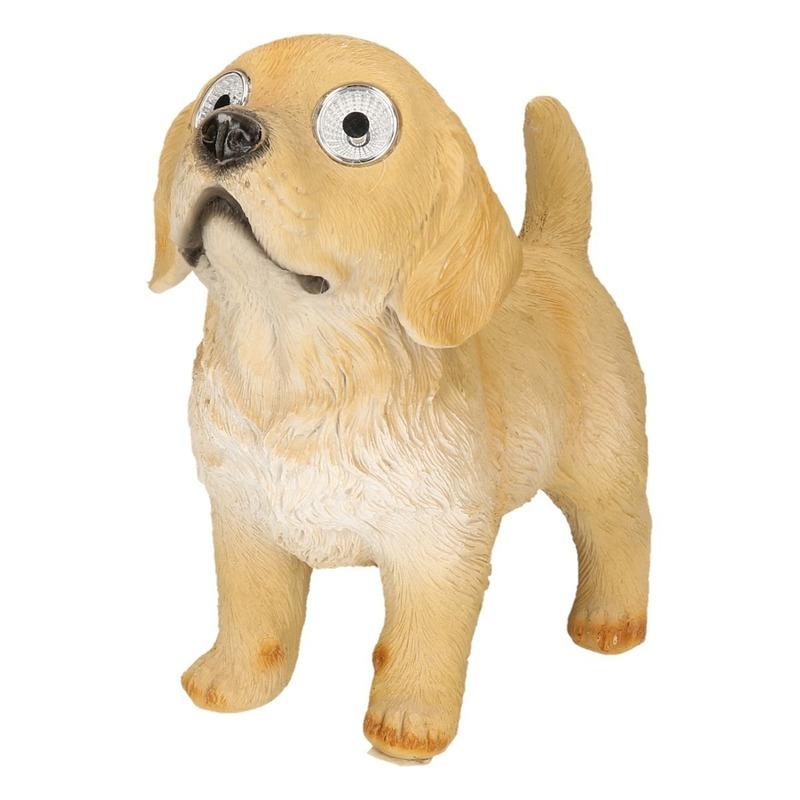 Solar honden beeld beige labrador met lichtgevende ogen 26 cm