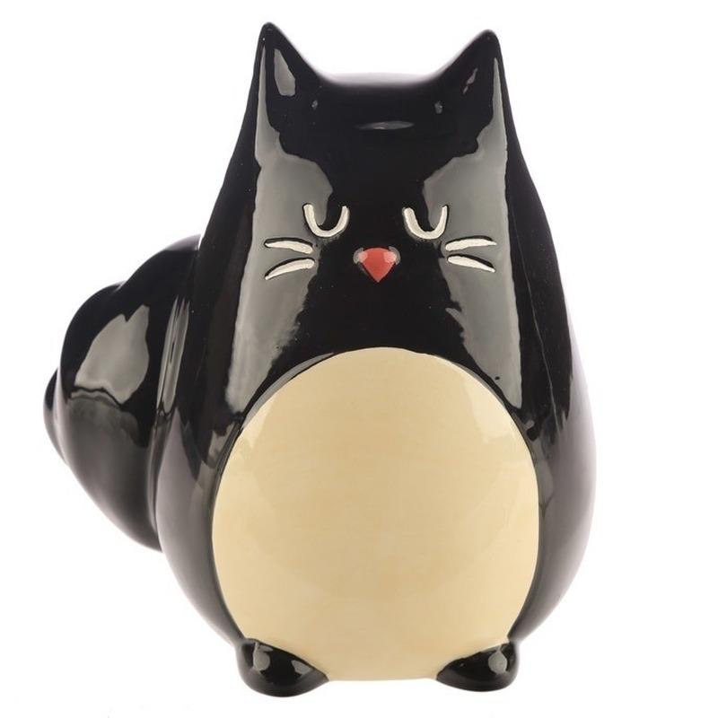 Spaarpot/beeldje zwarte kat gemaakt van keramiek 13 cm