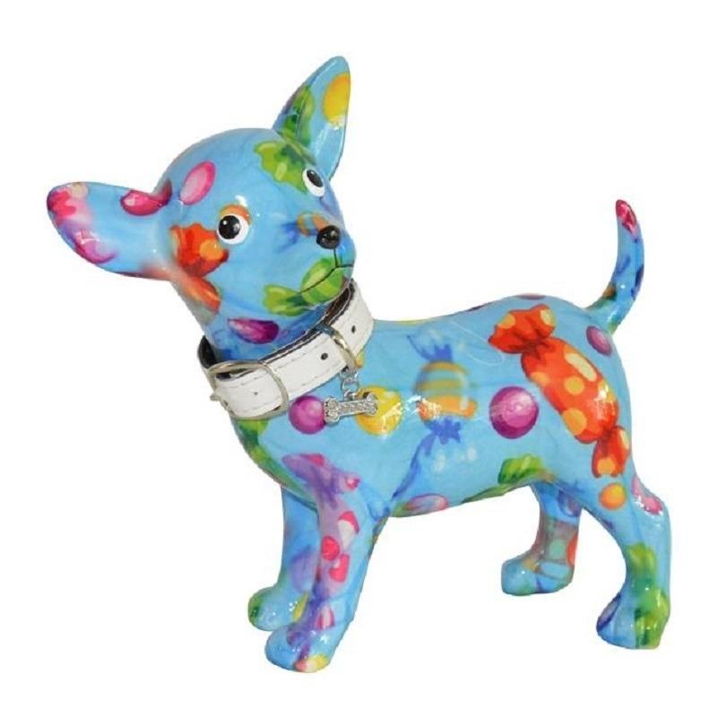 Spaarpot chihuahua hond blauw met gekleurde snoepjes print 21 cm