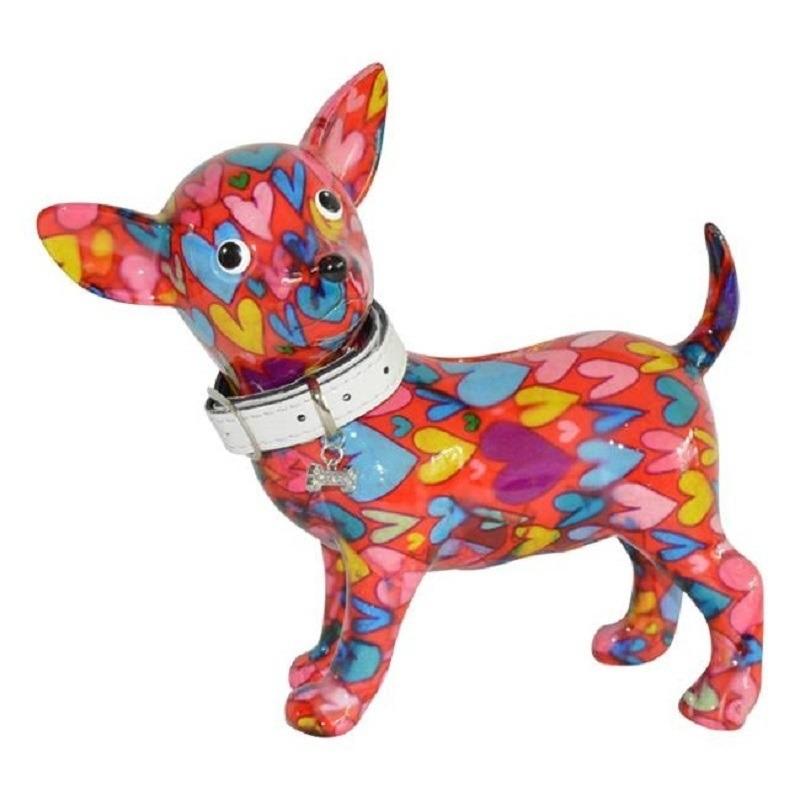 Spaarpot chihuahua hond rood gekleurde hartjes print 21 cm