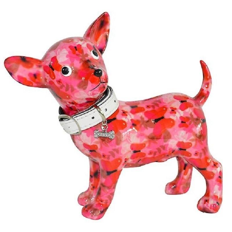 Spaarpot chihuahua hond roze gekleurde vlinder print 21 cm
