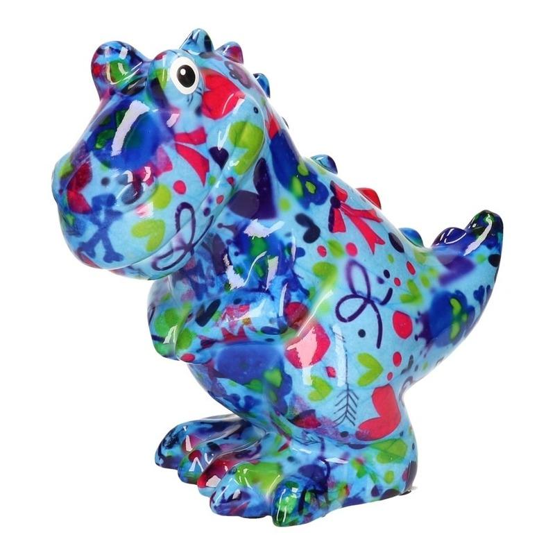 Spaarpot dinosaurus blauw met hartjes print 17 cm