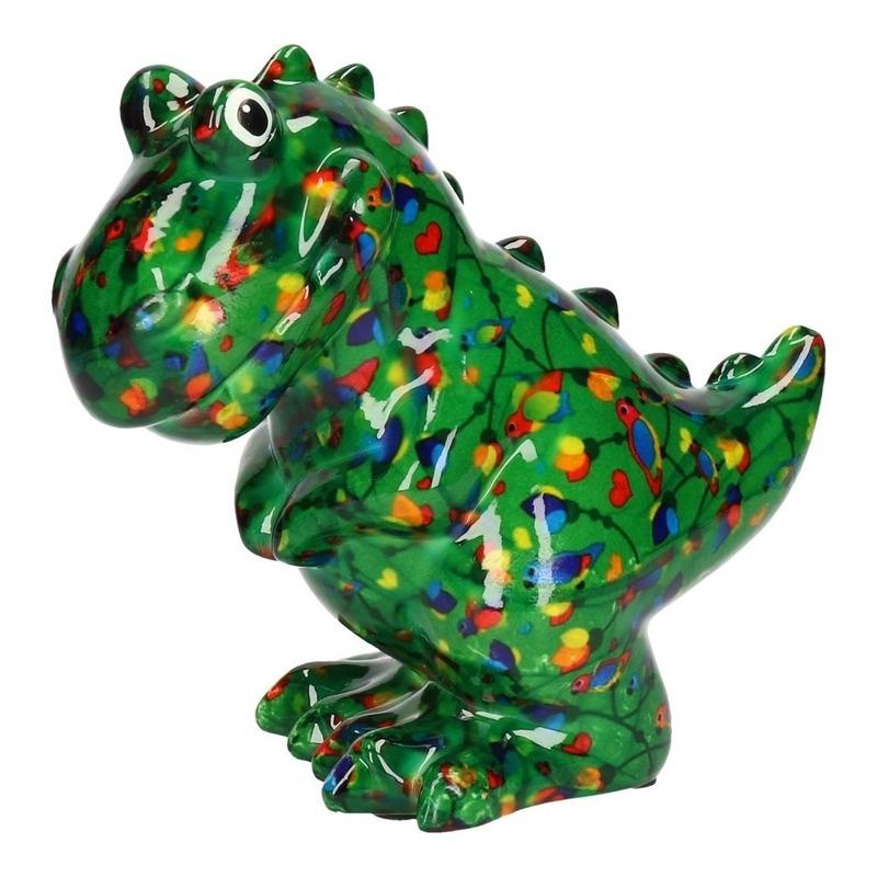 Spaarpot dinosaurus donker groen met vogel print 17 cm