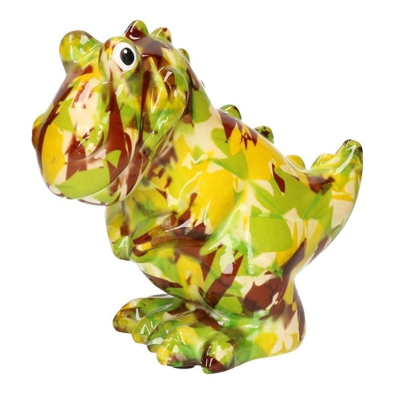 Spaarpot dinosaurus groen met camouflage print 17 cm