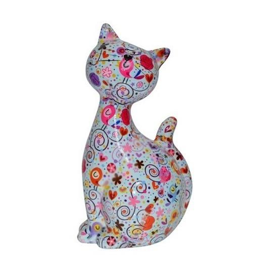 Spaarpot kat/poes lichtblauw met hartjes 30 cm