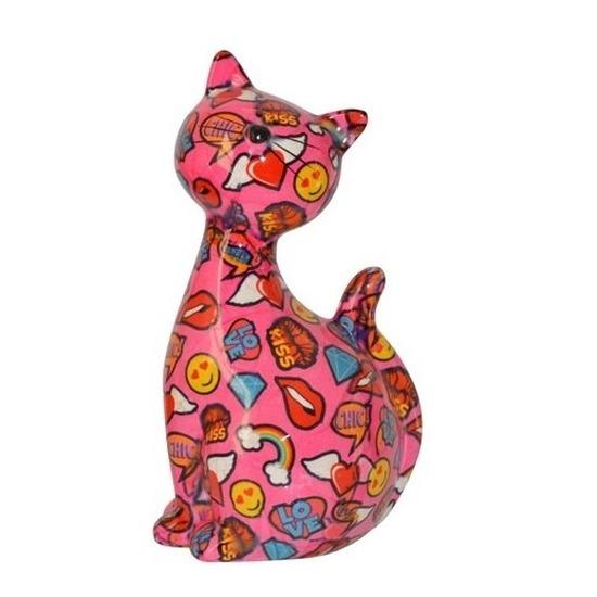 Spaarpot kat/poes roze met emoticons 30 cm