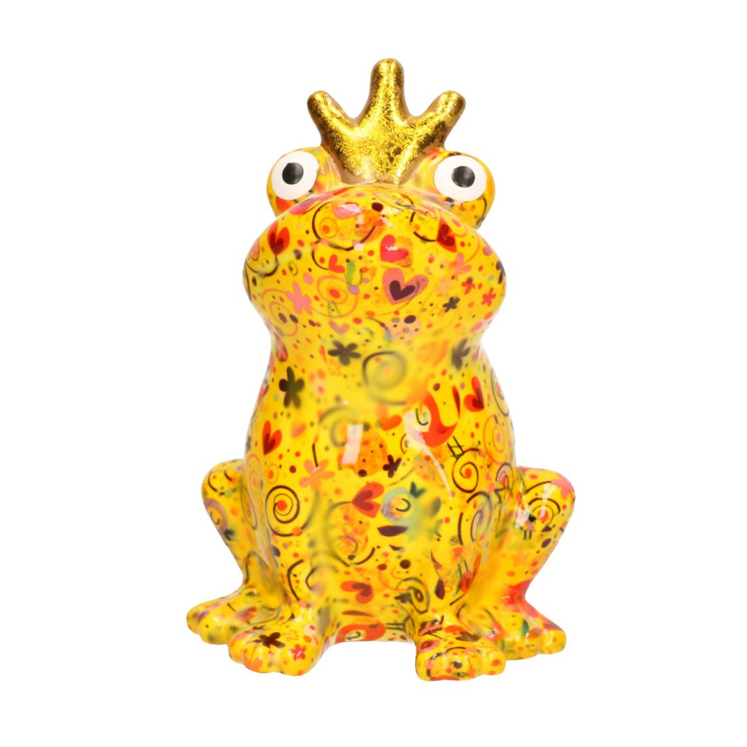 Spaarpot kikker met kroontje geel met bloemen print 22 cm