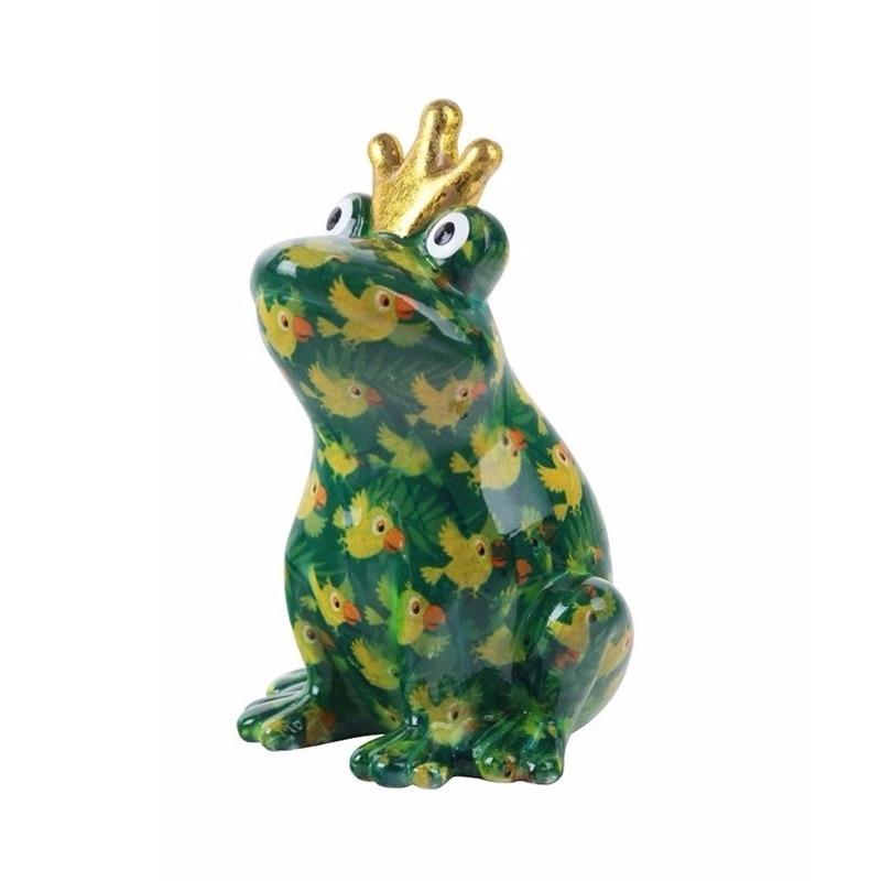 Spaarpot kikker met kroontje groen papegaai print 22 cm
