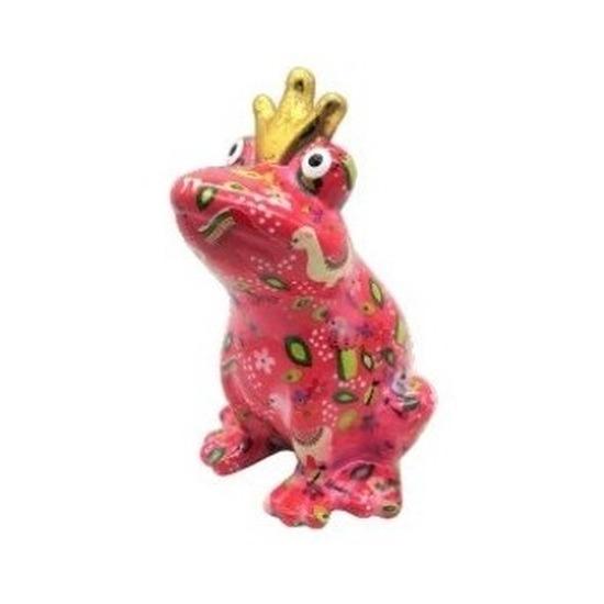 Spaarpot kikker met kroontje roze alpaca print 22 cm
