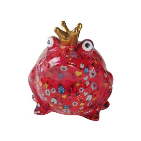 Spaarpot kikker rood en gouden kroon 28 cm