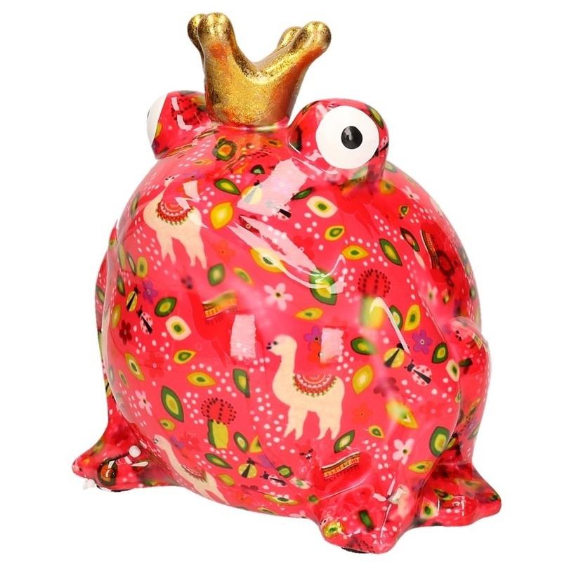 Spaarpot kikker roze met tekeningen en gouden kroon 28 cm