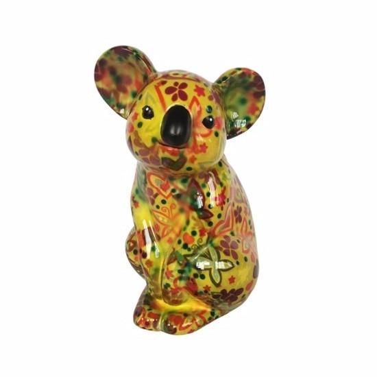 Spaarpot koala geel met bloemen print 20 cm type 5