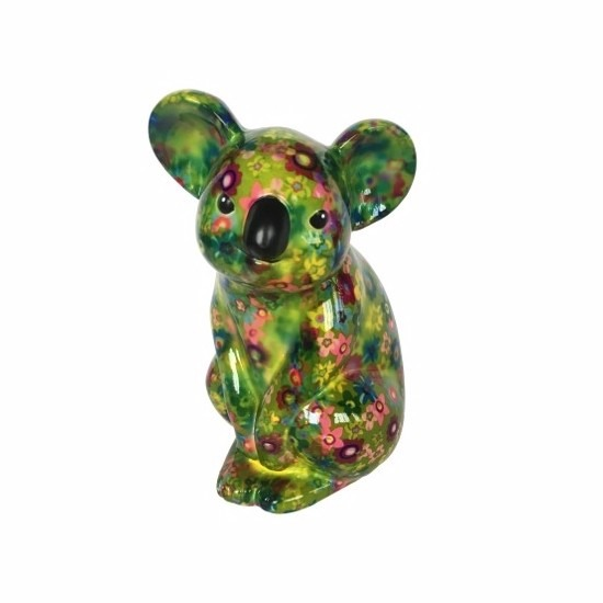 Spaarpot koala groen met bloemen print 20 cm type 4