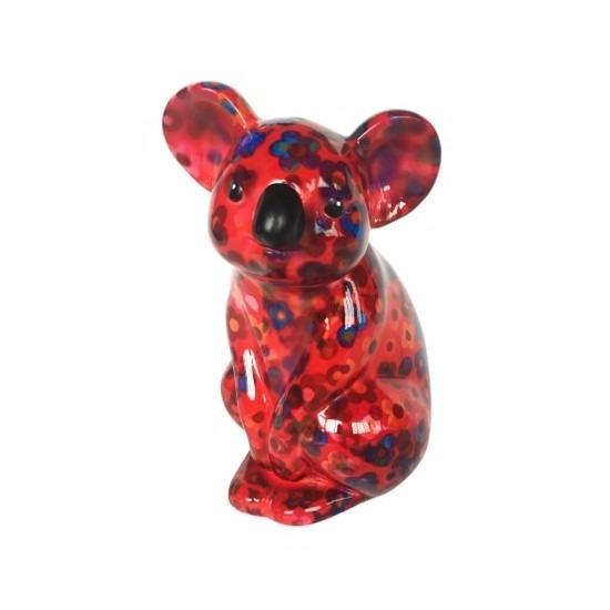Spaarpot koala rood met bloemen print 20 cm type 2