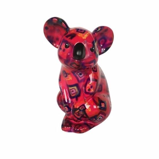 Spaarpot koala rood met figuurtjes print 20 cm type 3
