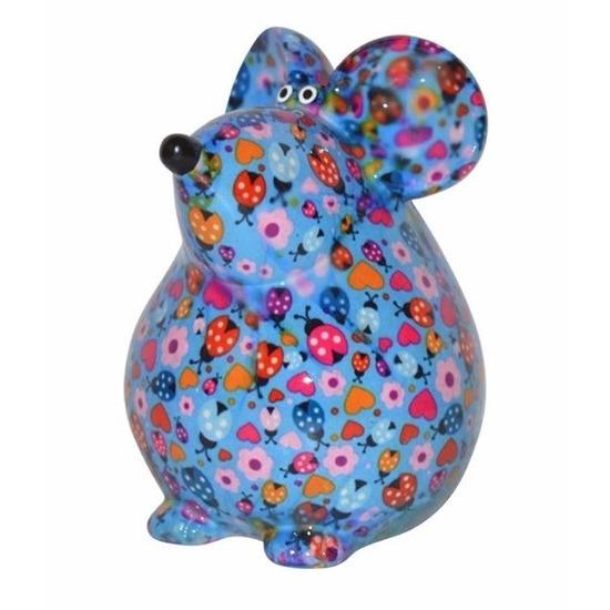 Spaarpot muis blauw met hartjes print 17 cm