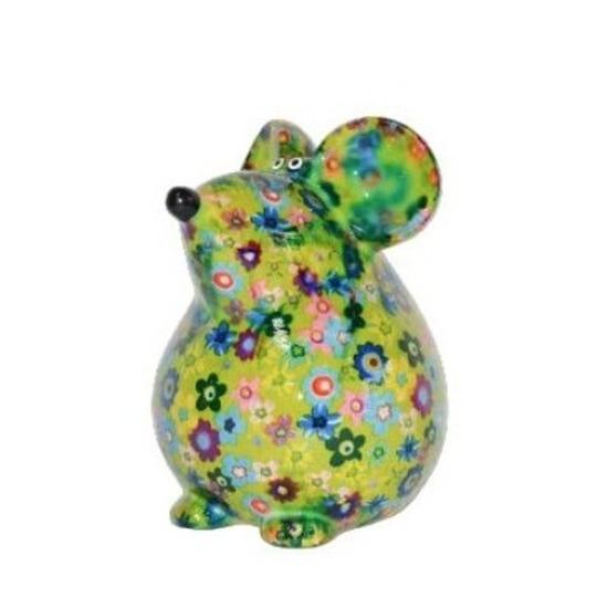 Spaarpot muis groen met bloemen print 17 cm