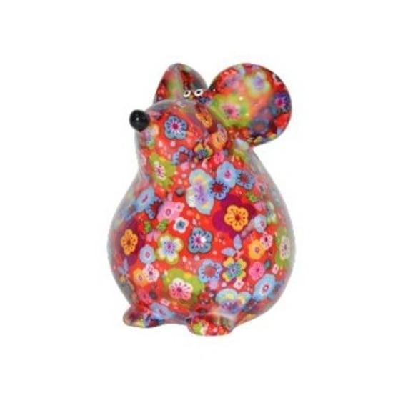 Spaarpot muis rood met bloemen print 17 cm