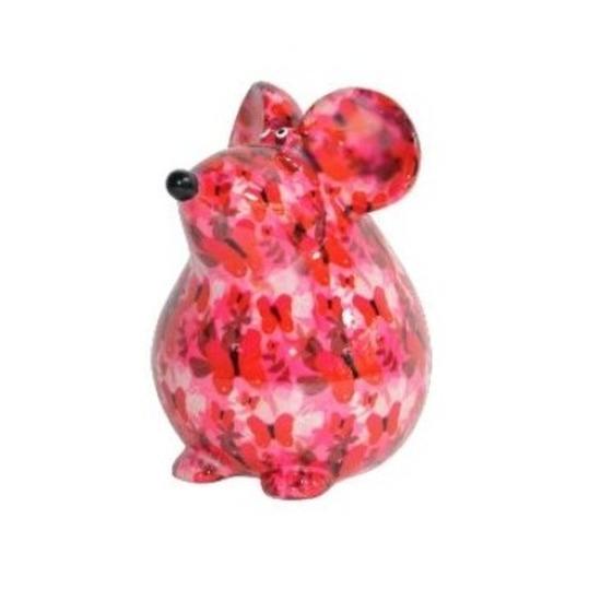 Spaarpot muis roze met vlinder print 17 cm