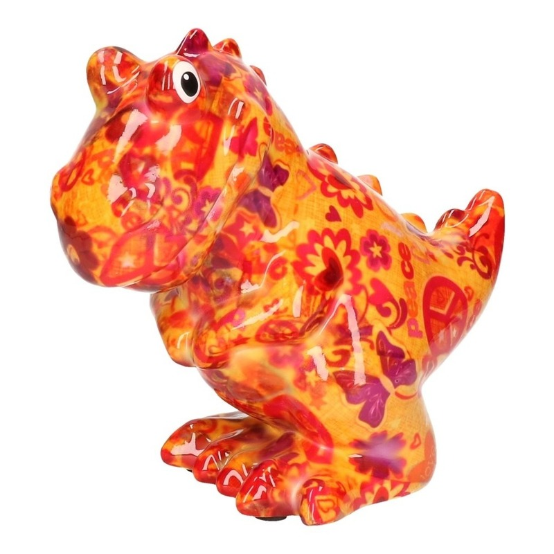 Spaarpot oranje dinosaurus met love and peace/hippie print 17 cm