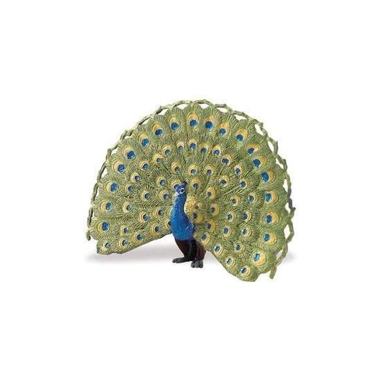 Speeldier blauwe pauw 11 cm