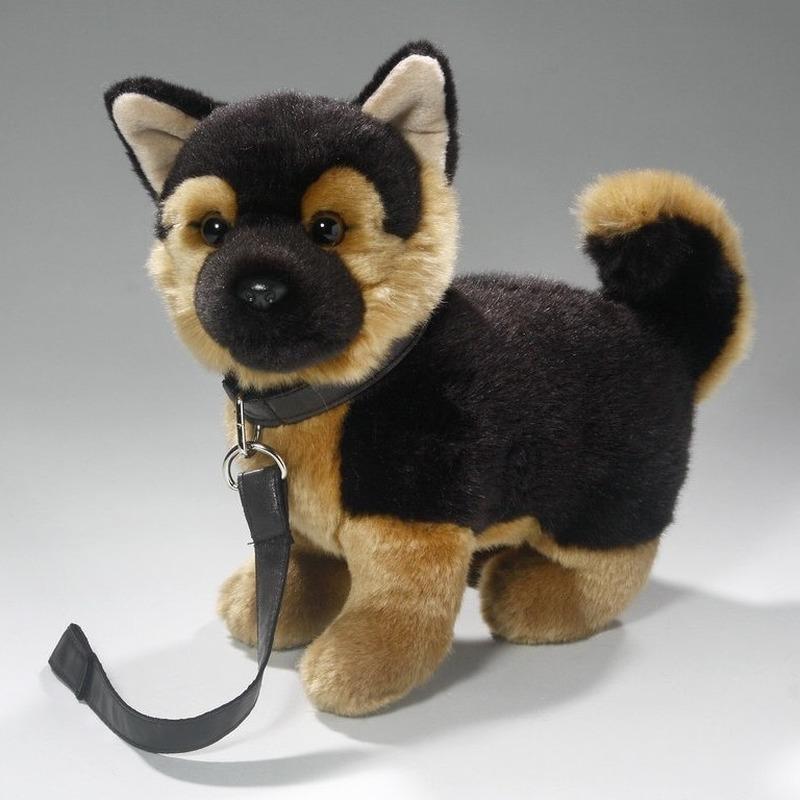 Speelgoed Duitse Herder puppy/hondje knuffel aan lijn 25 cm