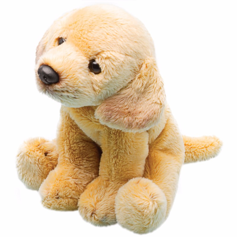 Speelgoed knuffel pluche Labrador retriever geel 13 cm
