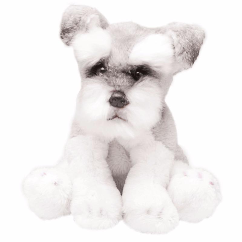 Speelgoed knuffel pluche Schnauzers wit/grijs 13 cm