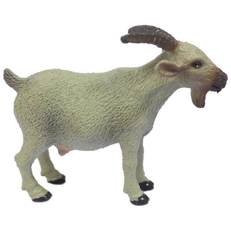 Speelgoed witte geit kunststof 6 cm