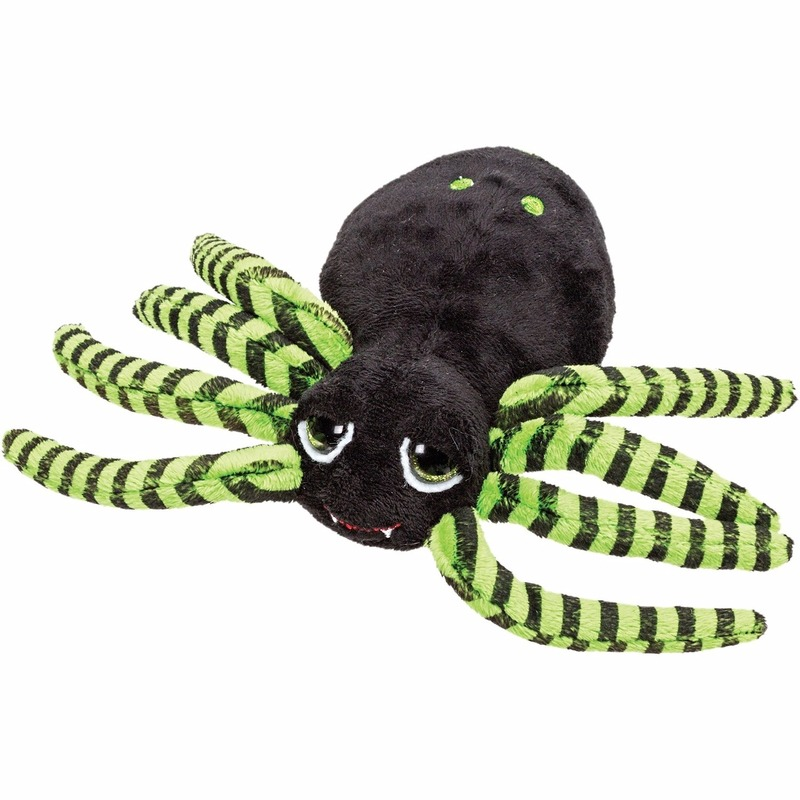 Spinnen knuffel zwart/groen 14 cm